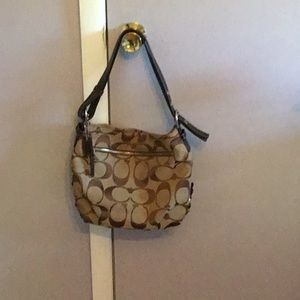 COACH CANVAS BROWN/TAN CLASSIC CC CANVAS BAG USED